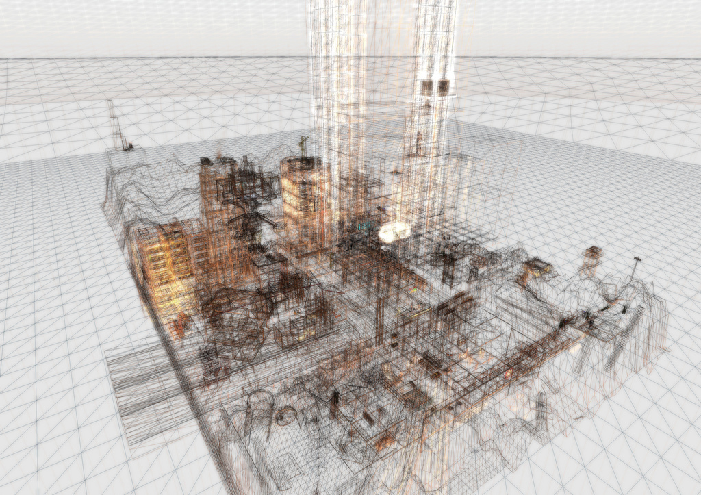Graphic of a 3D wireframe urban block